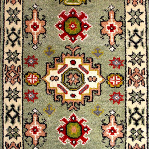 Green Kazak traditional hand-knotted rug