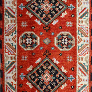 Rust Kazak traditional hand-knotted rug