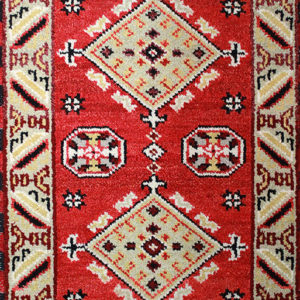 Red Kazak traditional hand-knotted rug