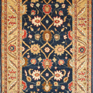 Navy traditional area rug with beige trim