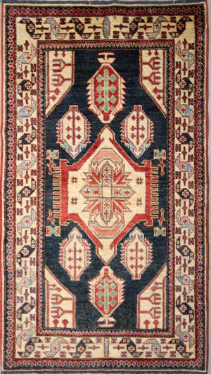 navy blue Kazak rug